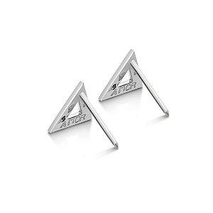 Brinco Triângulo Prata e Diamante Negro - Amor Oculto