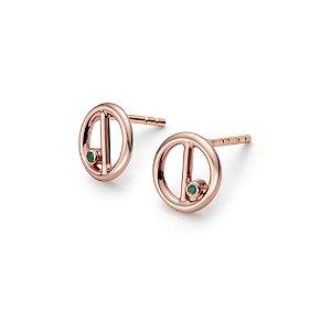 Brinco Equilíbrio de Prata com banho de Ouro Rosé e Esmeralda