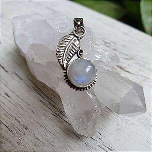Pingente Folha Cristal - Pedra da Lua