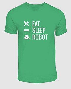 Camisa Eat Sleep Robot Verde Mescla