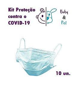 Kit 10 Unidades de máscara 3 camadas descartável esterilizada