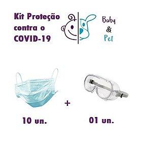 Kit 10 Unidades de máscara 3 camadas descartável esterilizada + Óculos de Proteção