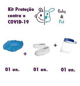 Kit Toca Cirúrgica + Sapatilha Cirúrgica + Viseira de Segurança