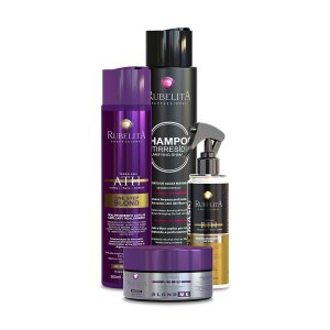 One Step Blond + Máscara Blond +  Easy Mask + Shampoo Anti Resíduo 500ml Rubelita Professional