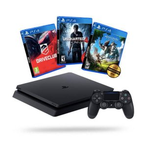 PlayStation 4 Slim Sony HD 500GB + 3 Jogos (DriveClub, Uncharted 4, Horizon Zero Dawn)