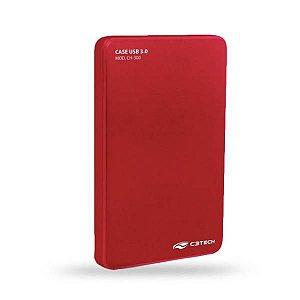 Case para HD/SSD Sata 2.5 Vermelho C3Tech CH-200RD