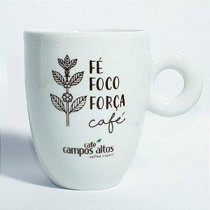 """Caneca AVULSA branca """"Fé Foco Força Café"""""""