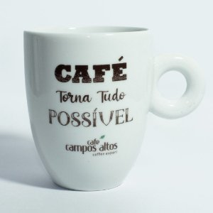 "Caneca AVULSA branca ""Café torna tudo possível"""