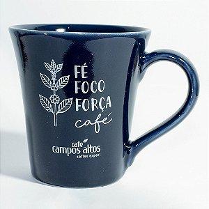 """Caneca AVULSA azul """"Fé Foco Força Café"""""""