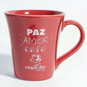 """Caneca AVULSA vermelha """"Paz amor café"""""""