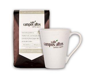 Kit Café Especial Campos Altos Moído 500 gramas e Caneca
