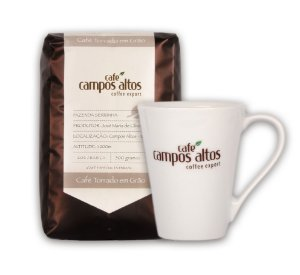 Kit Café Especial Campos Altos Torrado em Grãos 500 gramas e Caneca