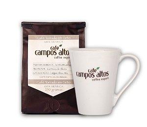 Kit Café Especial Campos Altos em Grãos 250 gramas e Caneca