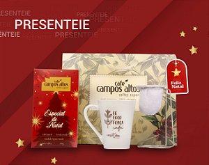 Kit Especial de Natal Café Campos Altos - Moído 500 gramas, 1 Caneca, 1 Mini Coador e 1 Sacola Para Presente