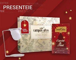 Kit Especial de Natal Café Campos Altos - Moído 500 gramas , 1 Mini Coador e 1 Sacola Para Presente