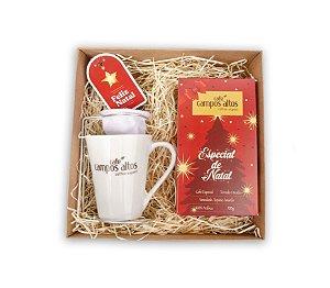 Kit Especial de Natal Café Campos Altos - Moído 500 gramas, 1 Caneca, 1 Mini Coador e 1 caixa Para Presente