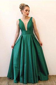 Vestido Decote V com Pala - Farthingale