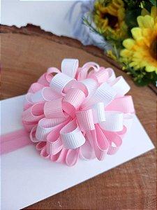 Laço faixa Pompom grande rosa/branco
