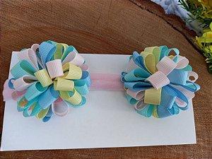 Laço faixa Pompom duplo color