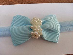 Gravatinha duplo chuva de pérolas azul turquesa