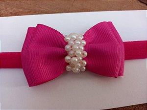 Gravatinha duplo chuva de pérolas pink