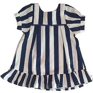 VESTIDO - KIT 3 Peças (Vestido + Calcinha + Faixa de cabeça) Azul listrado