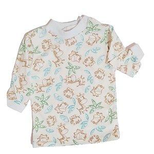 Camiseta manga longa estampada Girafa