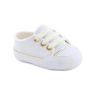 Tênis bebê branco dourado