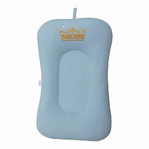 Almofada de Banho e Ninho - Coroa Azul Bebê