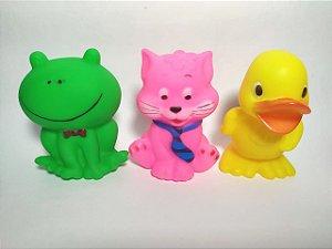 bichinhos de banho de borracha - Kit com 1 Pato, 1 Gato, 1 Sapo