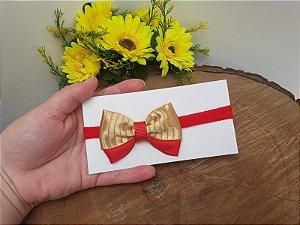 Laço Gravatinha Manu Vermelho com Dourado
