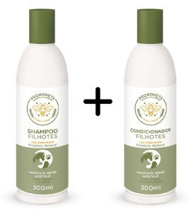 Kit Shampoo e Condicionador Filhotes Natural para Cães e Gatos 300ml - Propovets