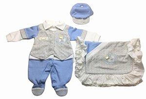 Saída de Maternidade Suedine Mo - 3 Peças