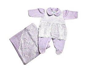 Saída de Maternidade Plush Lilás com Renda Ma - 2 Peças