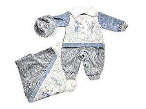 Saída de Maternidade Plush Listrado Azul Plush Mo - 3 Peças