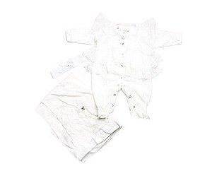 Saída de Maternidade Plush Off Withe c/ Renda Ma - 3 Peças