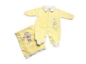 Saída de Maternidade Plush Amarelo Ma - 2 peças