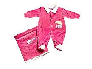 Saída de Maternidade Plush Rosa Tartaruga Ma - 2 peças