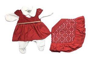 Saída de Maternidade Plush com Renda Vermelha Ma - 4 Peças