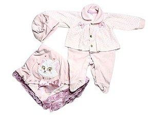 Saída de Maternidade Plush Gatinha Rosa Ma - 3 Peças