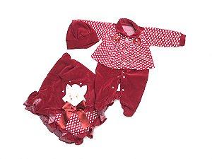 Saída de Maternidade Plush Gatinha Vermelha Ma - 3 Peças