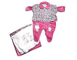 Saída de Maternidade Plush Rosa Florida Ma - 2 Peças