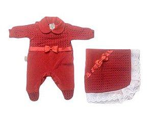 Saída de Maternidade Plush Vermelha Ma - 2 Peças