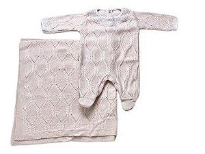 Saída de Maternidade Tricot Rosa Ma - 2 Peças