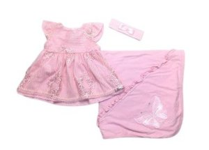 Saída de Maternidade Suedine Vestido de Florzinhas Ma - 3 Peças