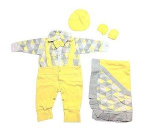 Saída de Maternidade Malha Amarela Mo - 4 Peças