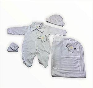 Saída de Maternidade Suedine Branco Unissex - 4 peças