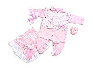 Saída de Maternidade Malha Rosa Chevron Ma - 4 Peças