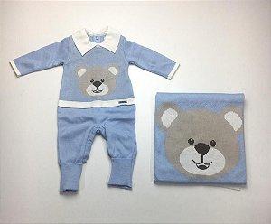 Saída de Maternidade Tricot Urso Azul Bebe Mo - 2 Peças