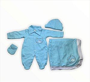 Saída de Maternidade Suedine Azul Bebe Mo - 4 peças